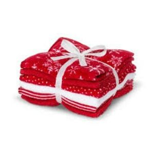NWT 6pk Christmas Holiday Washcloths Assorted Red